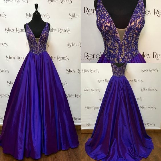 A-line V-neckline Royal Blue Prom Dress,Graduation Dress,Beaded Royal Blue Occasion Dress,Evening Party Dress by DestinyDress, $225.00 USD