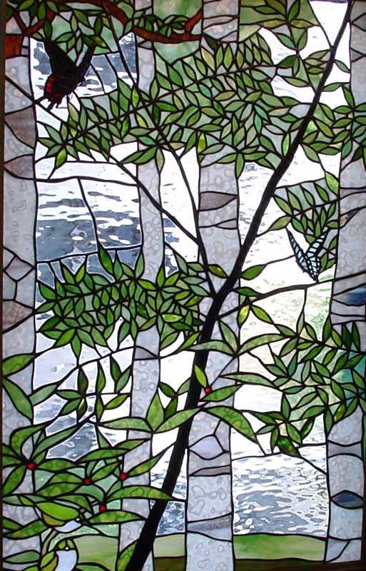Tashiro Stained Glass Butterflies in white birch forest