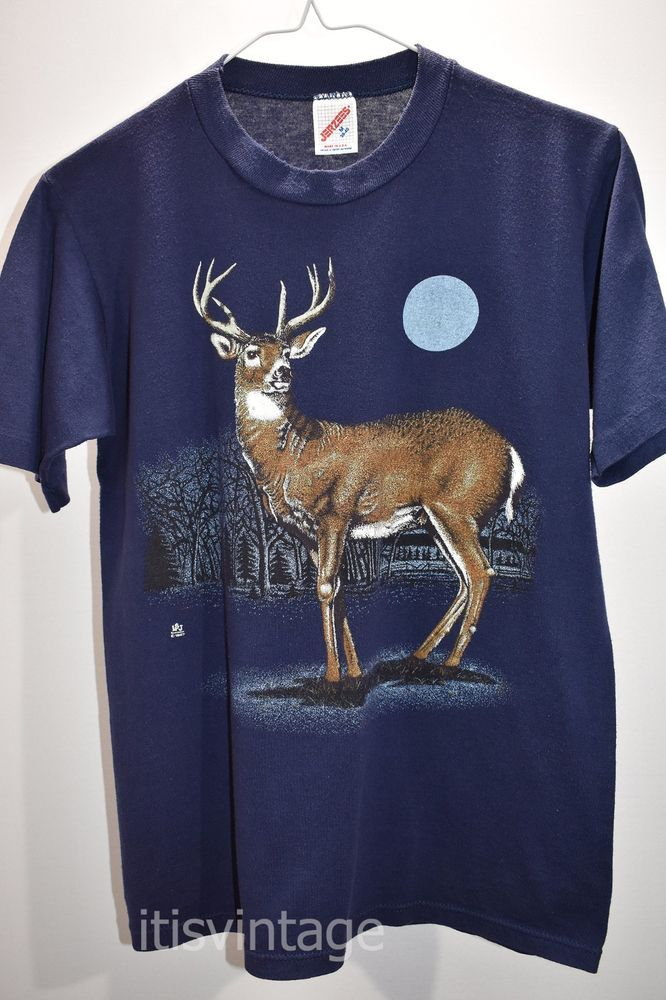 Vintage 1987 Jerzees Made USA Short Sleeve White Tail Deer Buck T Shirt 1980's   Clothing, Shoes & Accessories, Women's Clothing, T-Shirts   eBay!