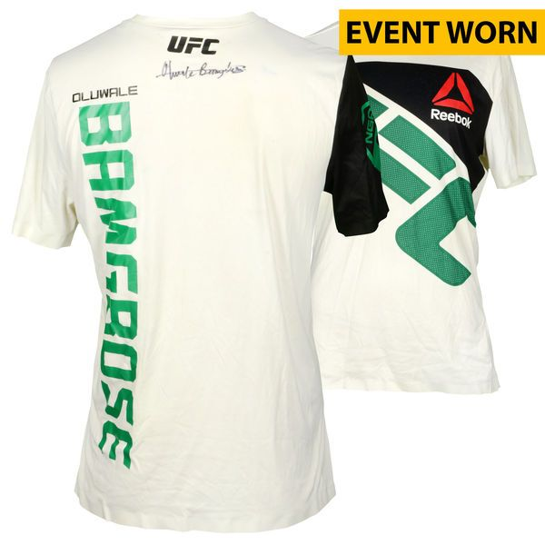 Oluwale Bamgbose Ultimate Fighting Championship Fanatics Authentic Autographed UFC Fight Night: Cowboy vs. Cowboy Event-Worn Walkout Jersey - Defeated Daniel Sarafian via First Round KO - $249.99