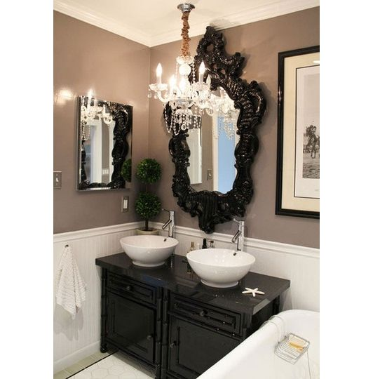 Half bath idea...I love wainscoting, but don't want a country feel...love the white wainscoting and color on wall! Contemporary Bathroom Decorating Ideas - Home and Garden Design Ideas