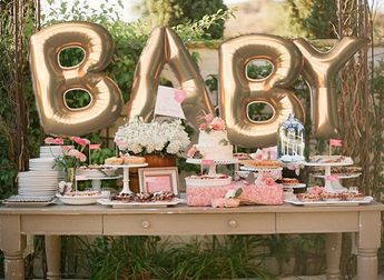 Giant BABY Balloons – 40″ Inch Gold Mylar Balloons in Letters B-A-B-Y -Metallic Gold, Rose Gold or Silver – Authentic Megaloons from Italy