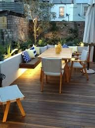 Image result for narrow long outdoor entertaining