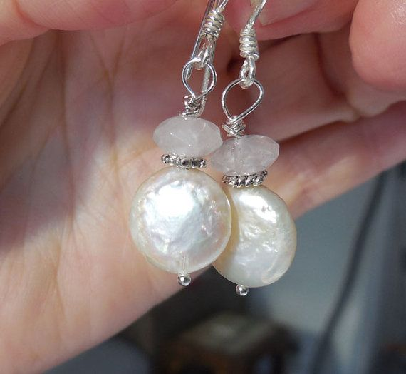 Rose Quartz Coin Pearl  Earrings by VeronicaBCreations on Etsy