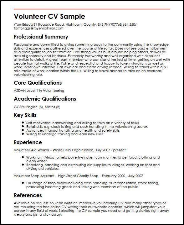 Cv Template Volunteer Experience Cvtemplate Experience Template