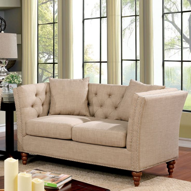 Furniture of America Cerona Contemporary Tuxedo Style Tufted Linen Loveseat