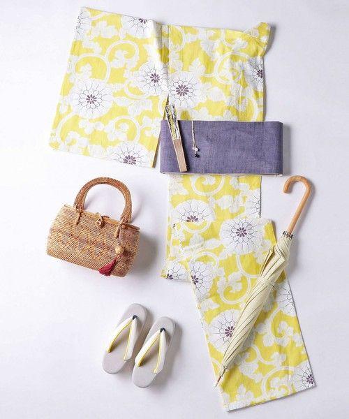 kimono(キモノ)の「<KAGUWA(カグワ)>花唐草 浴衣(着物/浴衣)」|イエロー