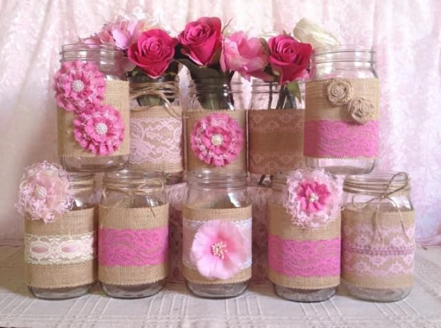 10x rustic burlap and pink lace covered mason jar vases wedding decoration, bridal shower, engagement, anniversary party decor I made this adorable vases with natural color burlap, light and dark pink color laces, handmade burlap and lace flowers, plastic buttons, rhinestone button, pearls and twin bows.