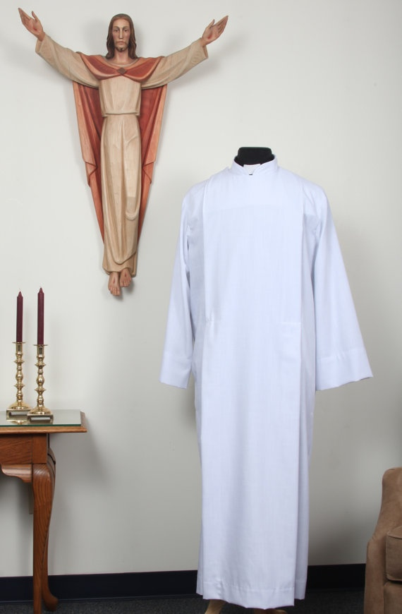 Ecclesiastical robe, ALB, Custom made, LARGE, vestment,  easy care. $154.00, via Etsy.