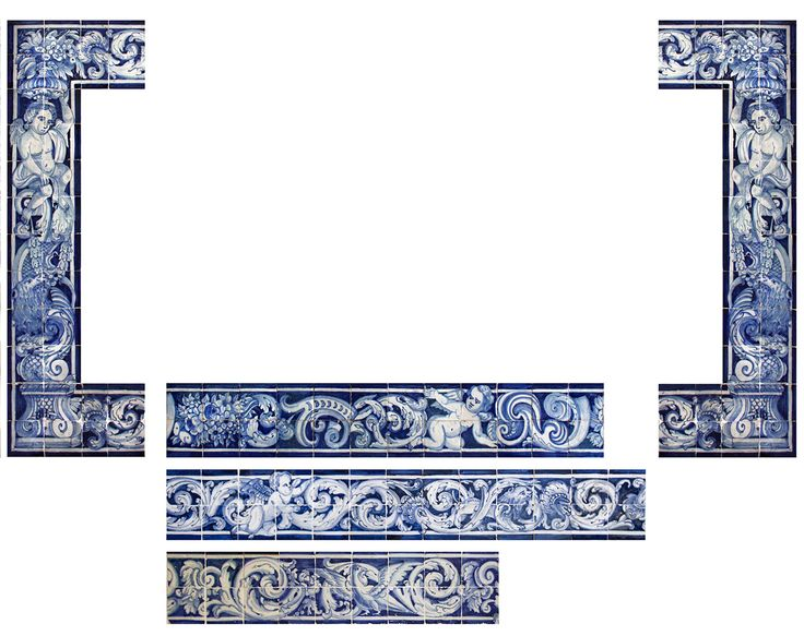 """The B-18-00021-V can be applied with the B-18-00026-H and B-18-00036-H   Rosário Salema de Carvalho. """"Cataloguing Baroque azulejo frames. A project in progress,"""" in AzLab#14 Azulejos and Frames. Proceedings. 2 (2016), p. 33-41. URL: http://artison.letras.ulisboa.pt/index.php/ao/article/view/41"""