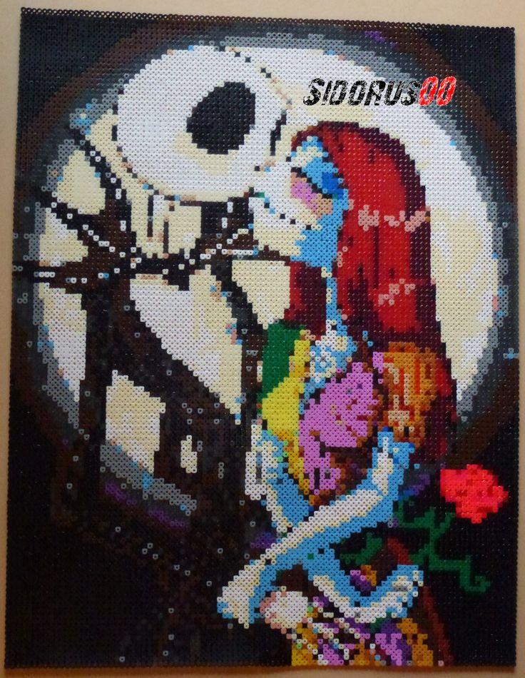The Nightmare Before Christmas:  Jack and Sally hama perler beads by Sidorus00