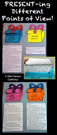 Here's a hands-on, creative way for your students to practice identifying the four main points of view as they read!   Students read four short passages and identify which point of view the author used in each story.  The points of view include: First Person Second Person Third Person Limited Third Person Omniscient  http://www.teacherspayteachers.com/Product/Point-of-View-Craftivity-Present-ing-Different-Points-of-View-766057