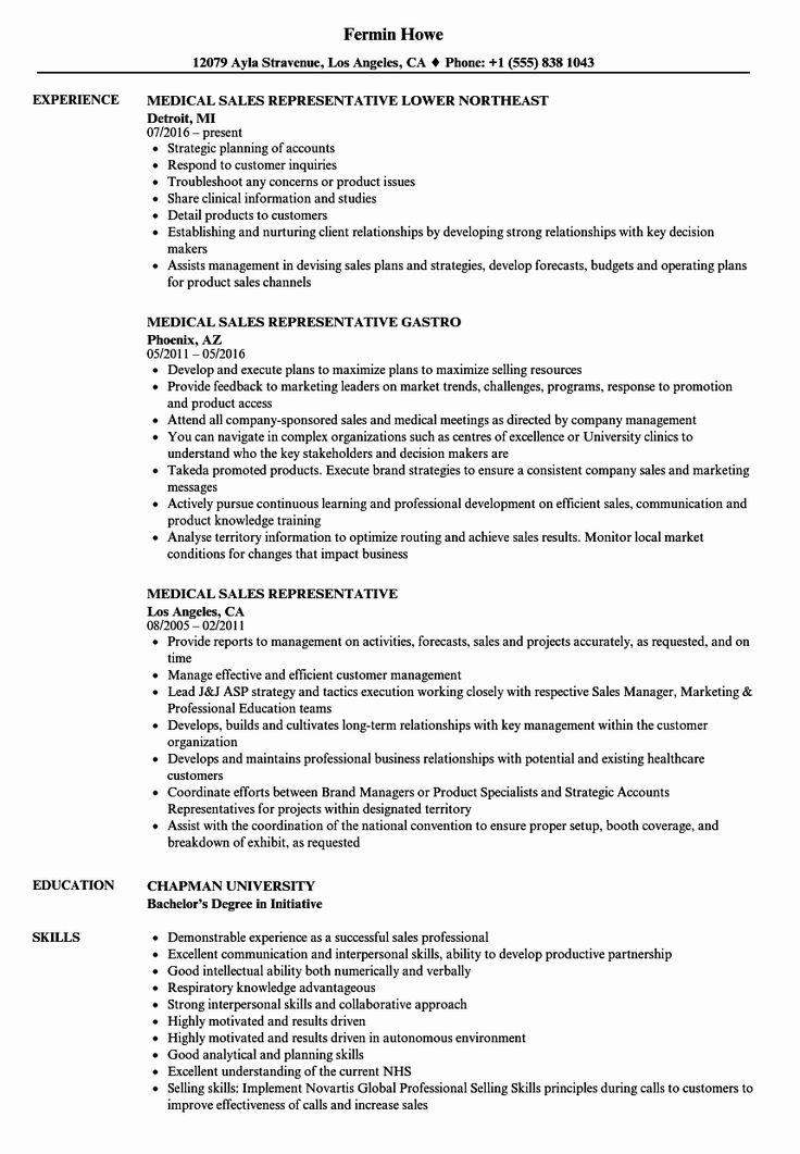 23 Sales Rep Resume Example in 2020 Medical sales resume