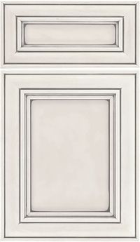 A bright white opaque glazed cabinet finish creating a smooth, clean look, topped with a pale, cool gray glaze.