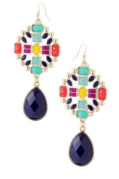 geometric gem earrings.