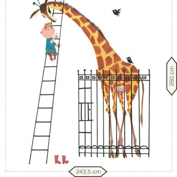 vliesbehang kinderbehang Dikkertje Dap en de Grote Giraf - Fiep Westendorp