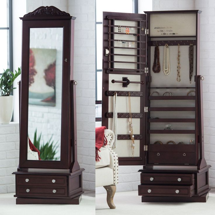 Belham Living Swivel Cheval Mirror Jewelry Armoire - The Belham Living Swivel Cheval Mirror Jewelry Armoire stores your diamond rings, pearl earrings, and all sorts of other pretty things. Loaded with st...