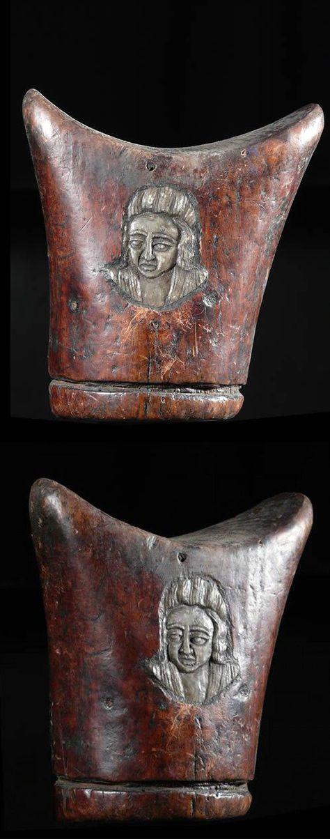 Africa | Headrest from the Oromo people of Ethiopia | ca. 1950 | Hardwood, with a carving on one side, similar to that found on the Maria Thérésa thaler coin.