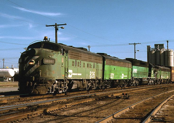Burlington Northern freight train led by EMD F units.