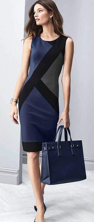 Mostly neutral sheath dress - perfect for work, but what kind of jacket would work with this? WHBM Graphic Print Sheath
