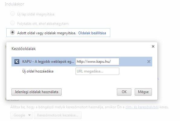 Chrome - kezdőlap beállítás