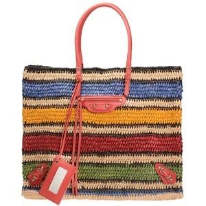 balenciaga striped and woven bag