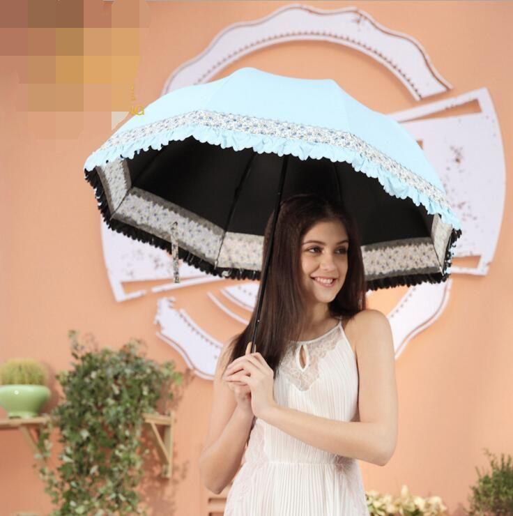 Nice Parasol Rain Umbrella Sun Parasols Women Lace Kobold Anti UV Princess Fiber Durable Windproof Umbrellas with Black Coating #Affiliate