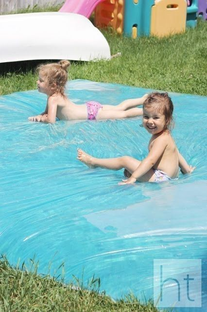 Make a giant outdoor water bed for the kids. | 51 Budget Backyard DIYs That Are Borderline Genius
