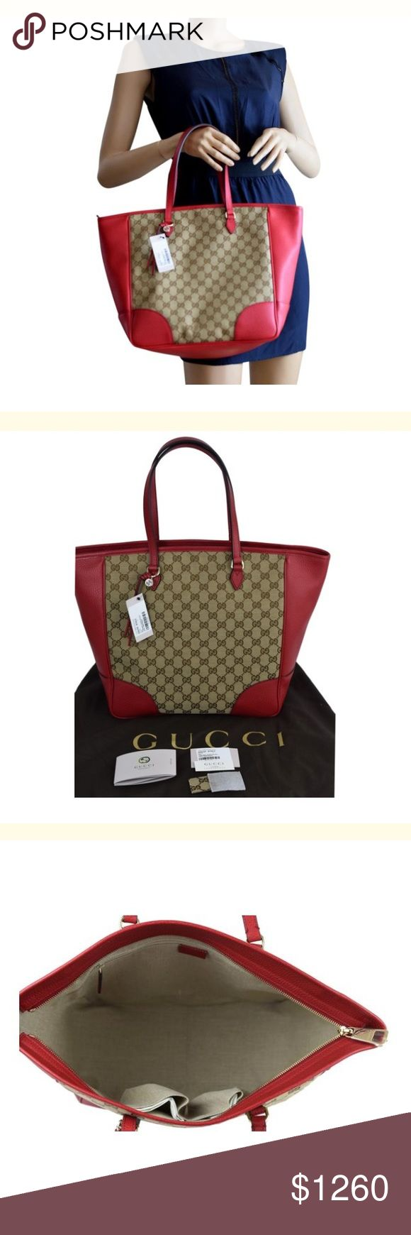 Gg Canvas red leather red tote bag. NEW Gucci Original GG Canvas with Red Leather !  Canvas lined interior with three pockets. 100% authentic, comes directly from Gucci.  Made in Italy  Includes Dust bag, controllato card and care card     Will ship right away! 2 day shipping - 3 days to West Coast! Gucci Bags Totes
