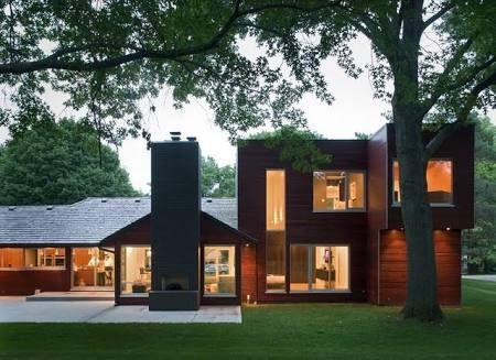 two 2 storey mid century modern minimalist houses - Google Search