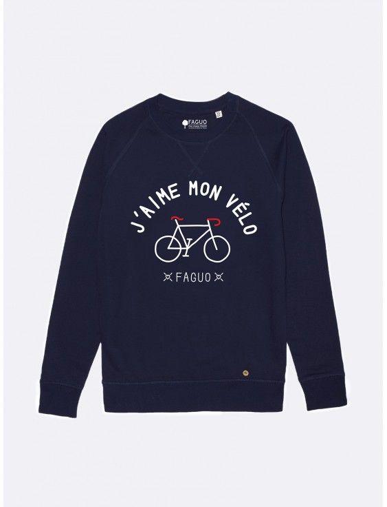 Sweatshirt Marine Imprimé en Coton pour Homme et Femme - Darney Marine J'aime mon vélo - FAGUO