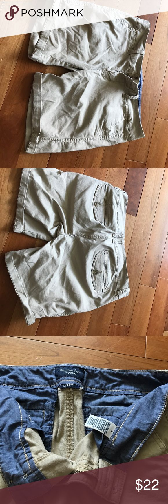 American Eagle Outfitters Stretch Khaki Shorts EUC Khaki shorts perfect for summer teaching job. Sits at waist and fits nicely down thighs for a conservative crisp look. Barely worn. Can only be bundled to save shipping. American Eagle Outfitters Shorts