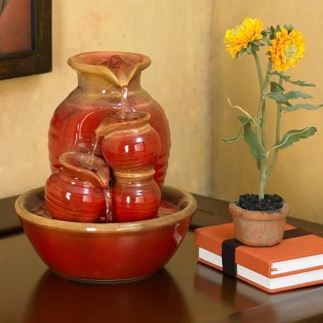 Country Jar Ceramic Table Fountain | LampsPlus.com