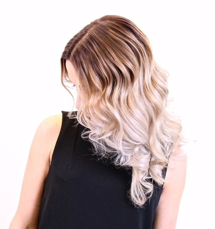 Bright pearly blond with balayage