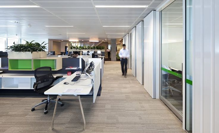 A soft neutral shade of carpet was incorporated into this for Well designed office spaces