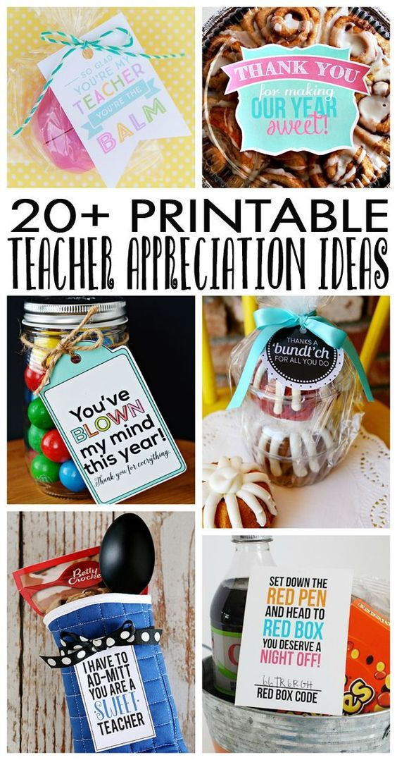 Over 20 Teacher Appreciation Ideas with free printables!