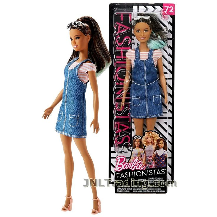 Year 2017 Fashionistas Series 12 Inch Doll #72 – Tall Hispanic BARBIE FJF37 in White Pink Shirt and Awesome Blue Denim Overall with Sunglasses