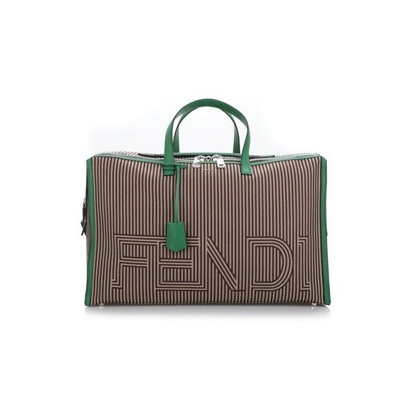 FENDI Green Leather Contours Weekend Bag (€2.165) ❤ liked on Polyvore featuring men's fashion, men's bags, brown, mens leather overnight bag, mens leather weekender bag, mens weekender bag, mens leather weekend bag and mens leather bags