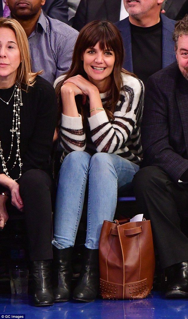 Front row royalty: Katie Holmes, 37, took a break from her hectic schedule as she attended the Cleveland Cavaliers vs New York Knicks game at Madison Square Garden, NY on Wednesday