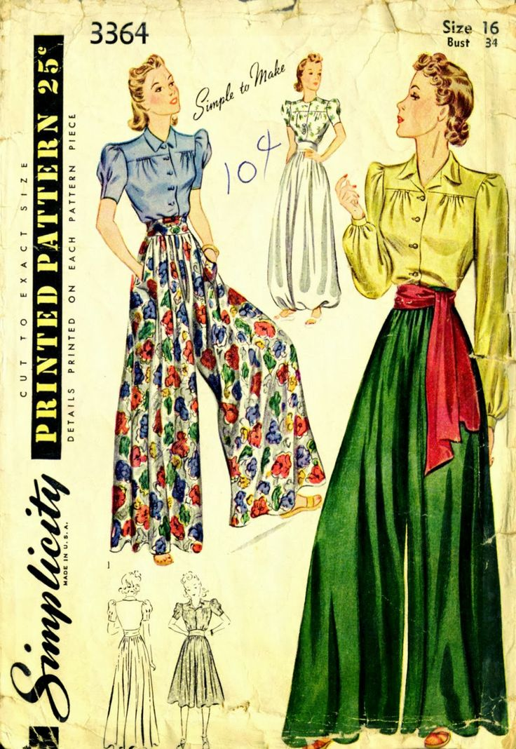 Renée And The Cat's Meow: Summer Sewing Inspiration & 1940s Palazzo Pants With Simplicity 3364
