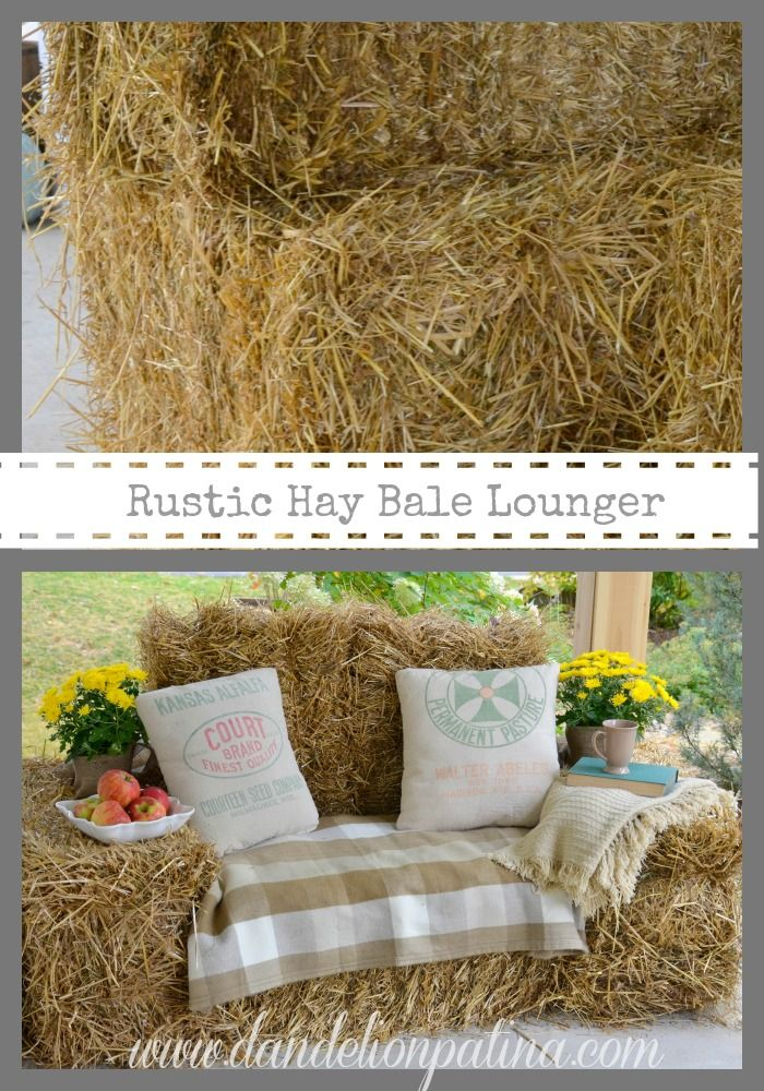 Create a Rustic Hay Bale Lounger on your front porch by Dandelion Patina #haybalecouch #falldecor