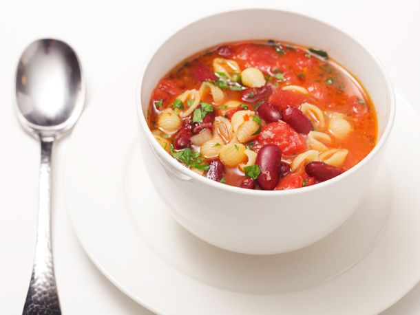 30-Minute Pasta and Kidney Bean Soup (Pasta e Fagioli) | Serious Eats : Recipes  -use diced tomatos, use vegi broth,