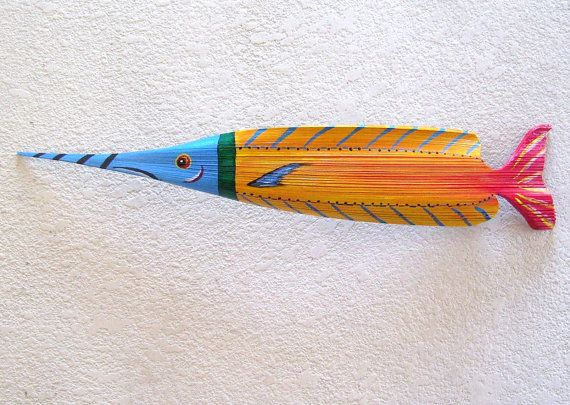 Tropical Fish Carved from Queen Palm Seed Pod by roseartworks