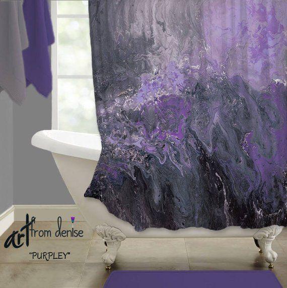 Purple Shower Curtain Modern Gray Plum Black And Purple Etsy