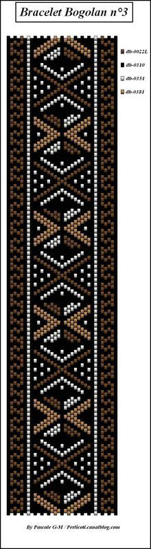 Série des bracelets Bogolan - perlicoti-peyote
