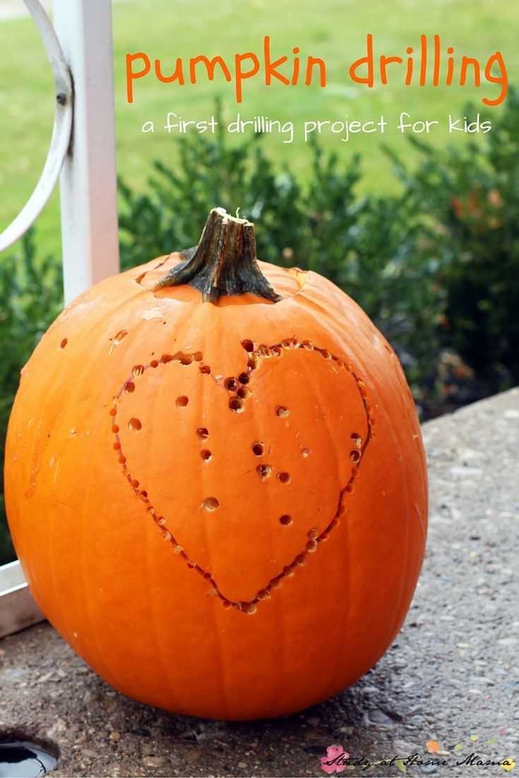 Pumpkin Drilling, a fun and creative way to carve a pumpkin - and a safe first drilling project for kids! A great fall activity for kids