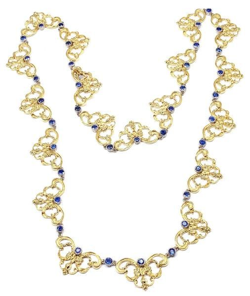 "Rare! Authentic Buccellati 18k Yellow Gold Sapphire 24"" Long Necklace - Fortrove"