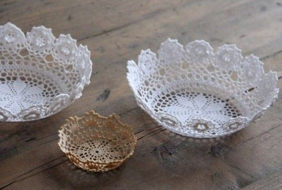 Quick Easy Lace Doily Bowl; a small one for holding jewelry at the kitchen sink or earrings by the bedside!