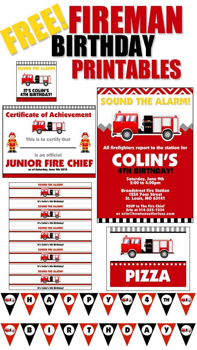 FREE Birthday Party Printables – Fire Truck Party Invitations