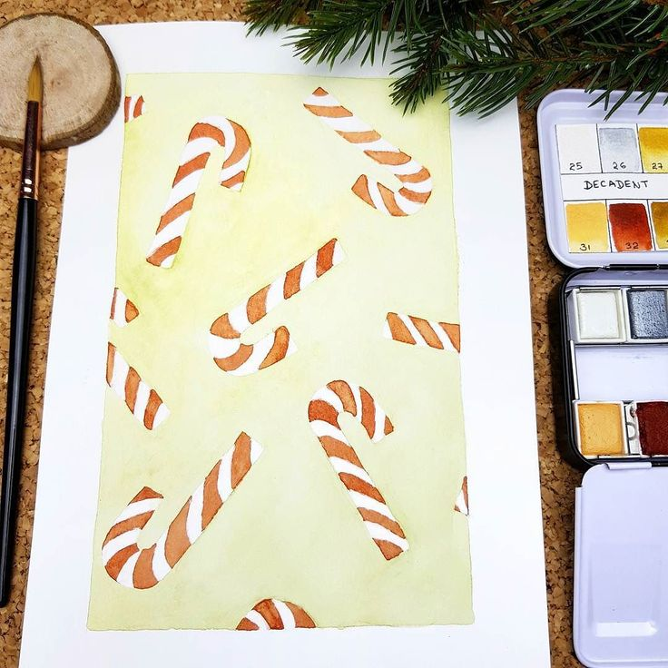 A candy Canes watercolor illustration